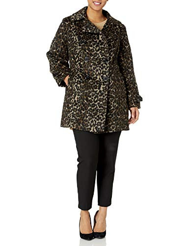 Anne Klein Women's Classic Double Breasted Coat Plus Size, Leopard, 2X