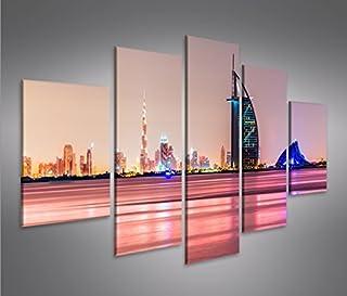 Dubai Nights 1p Bild Bilder Skyline von Dubai auf Leinwand Wandbild Poster