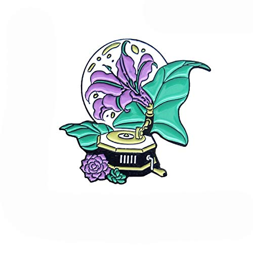 wangk Music box Phonograph Brooches Pin Purple Green Morning glory Flower moonlight Record Brooch For Women Gift Jewelry