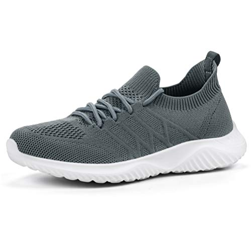 AKK Womens Sneakers Slip on Shoes Comfy Sock Tennis Work Non Slip Workout Running bagivy kuru granteva Shoe Dark Gray Size 8