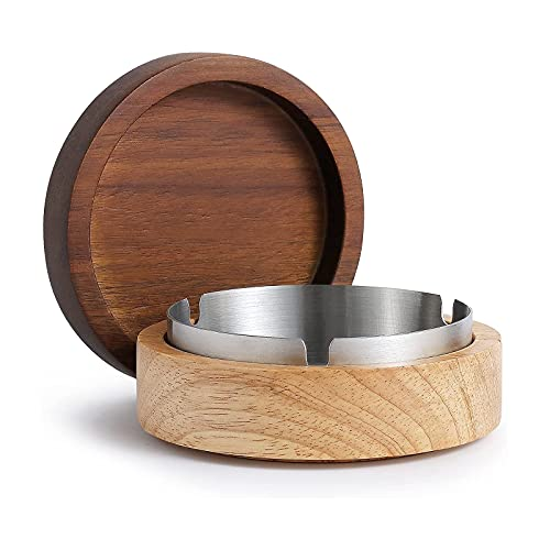 Ashtray With Lid, VViN Ashtrays for Cigarettes, Windproof Ashtray for Indoor or Outdoor Use, Wooden + Stainless Steel Liner Ashtray for Home Office Garden Decoration