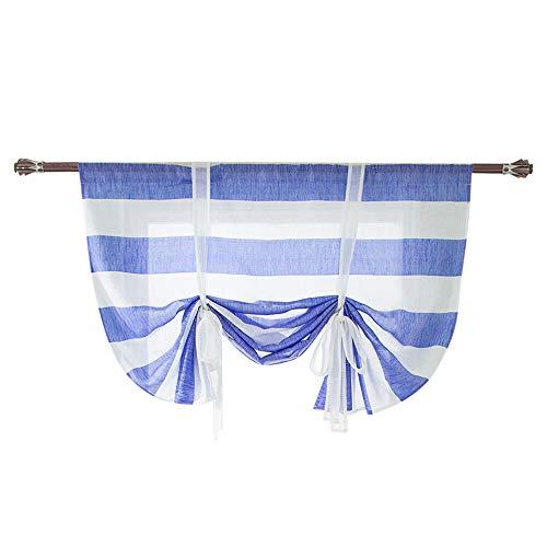 Fine Window Curtain, Beauty Roman Curtain Short Sheer Tie Up Window Balloon Shade Sheer,Adjustable Tie-Up Curtain (Blue)