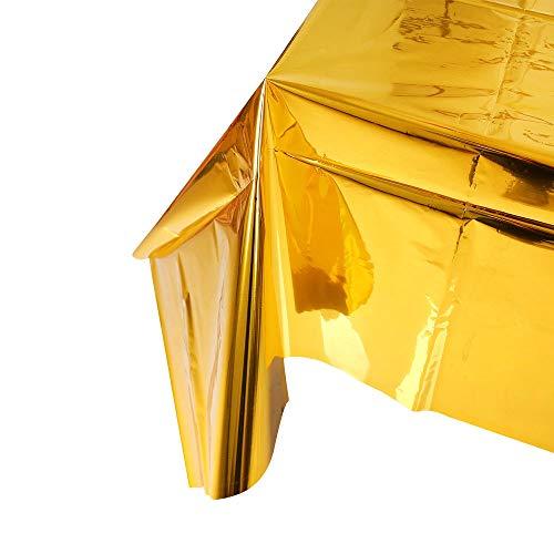 NIWWIN 2 Paquetes de Papel de Aluminio metálico Brillante Mantel desechable de plástico Rectangular de oropel metálico para decoración de Bodas y Fiestas de cumpleaños (Oro)
