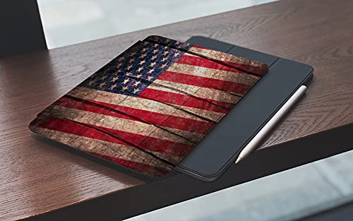 Funda para iPad 10.2 Pulgadas,2019/2020 Modelo, 7ª / 8ª generación,Bandera de Estados Unidos retro bandera americana en tablón de madera rústica, Smart Leather Stand Cover with Auto Wake/Sleep