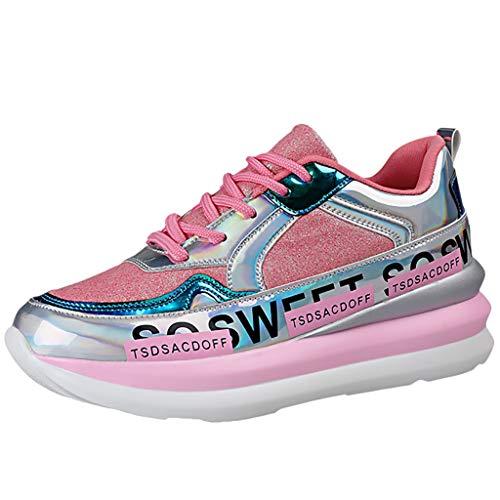 Sillor Sneakers Damen Mode Bequem Bunt Spiegel Pailletten Trend Wild Schnürer Plateau Turnschuhe Outdoor Casual Sports Walking Running Laufschuhe