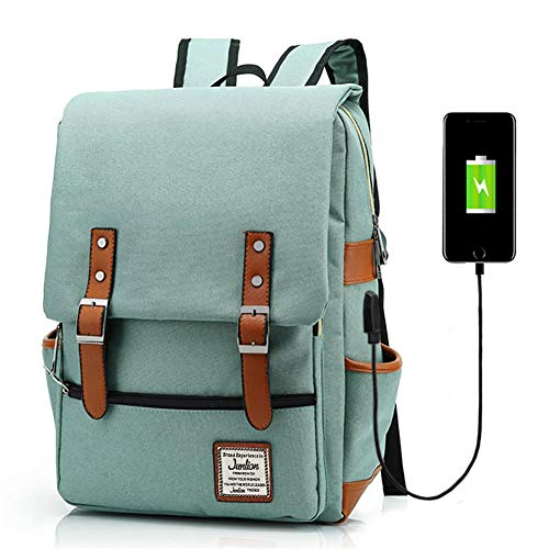Junlion Unisex Business Laptop Backpack College Student School Bag Travel Rucksack Daypack with USB Charging Port Green