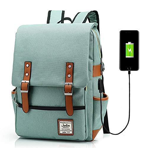 Junlion Mochila Portátil para Negocios Unisex Mochila Escolar para Estudiantes Universitarios Mochila de Viaje Mochila con Puerto de Carga USB Verde