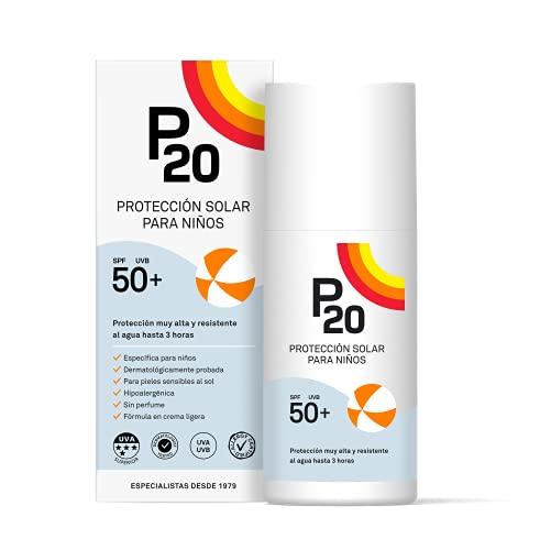 P20  | Crema Solar Niños | Protector solar para niños spf 50 muy alta y resistente al agua para una protección fiable frente a los rayos UVA y UVB | Formato Crema | 200 Ml