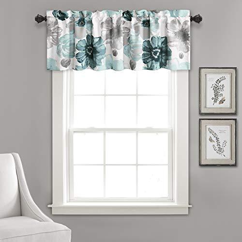 "Lush Decor Window Curtain Valance Leah Floral Insulated Grommet, 18"" L, Blue"