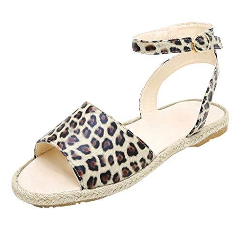 Damen Sommer Sandaletten Flachen Frauen Knöchelriemchen Leopardenmuster Plateau Flip Flop...