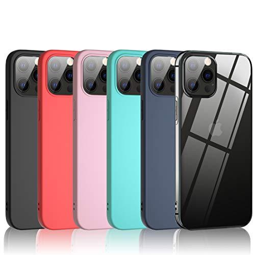 Bkeke 6 x Funda Apple iPhone 12/iPhone 12 Pro, 6 Unidades Caso Juntas Fina Silicona TPU Flexible Colores Carcasas iPhone 12/iPhone 12 Pro - Transparente, Negro, Azul Oscuro, Rosa, Menta Verde, Rojo