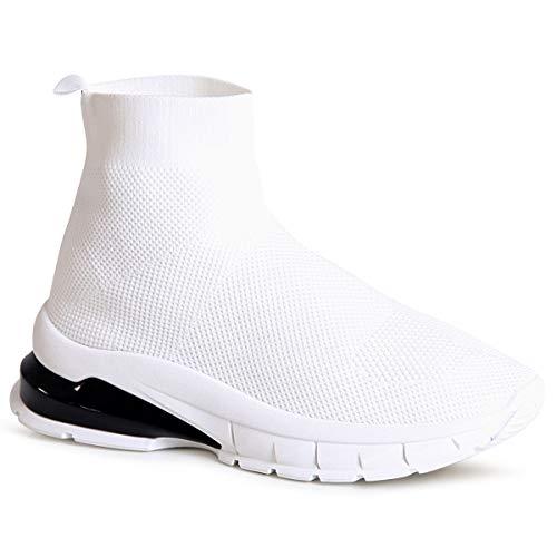 topschuhe24 1728 Damen Plateau Sneaker Sockenschuhe Strick, Farbe:White 1728, Größe:38 EU