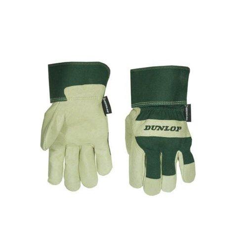 Dunlop 360128 Profi Arbeitshandschuhe Gr. L, Leder & Baumwolle grün/ beige, Cat 2 zertifiziert EN 388/ 2112