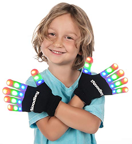 The Noodley Flashing LED Finger Light Gloves with Extra Batteries - Kid Sized - Black, Small
