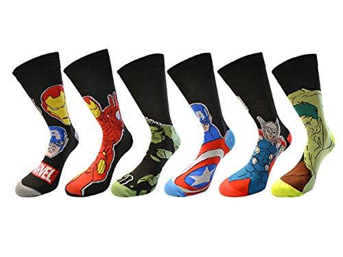 Herrensocken, mit Marvel-Superhelden-Design, 6 Paar/3 Paar, originell, Spiderman, Hulk, Captain America, Iron Man, Größe: 40-46, Schwarz