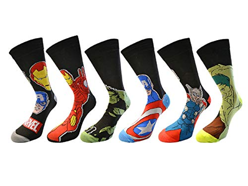 6 Pares / 3 Pares Nuevo Estampado Cómics Marvel Action Héroe Calcetines De Diseño Hombre Novedad Divertido Spiderman Hulk Captain America Iron Man Marvel Calcetines 6-11 - TRES PARES, UK 6 - 11