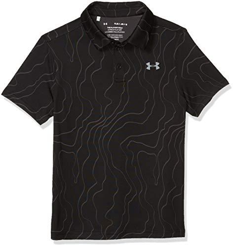 Under Armour Boys' Playoff Golf Polo , Black (001)/Steel , Youth Medium