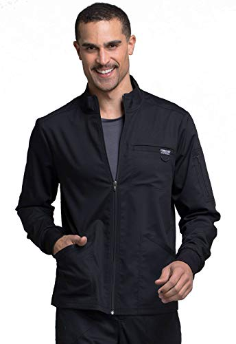 CHEROKEE Workwear WW Revolution Men's Men's Zip Front Jacket, WW320, L, Black