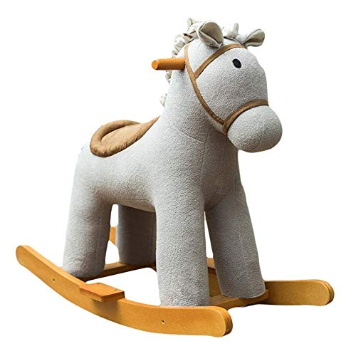 Baby Rocking Horse Ride Toy, Rocking Horse Children's Rocking Chair Toy Solid Wood Music One Year Old