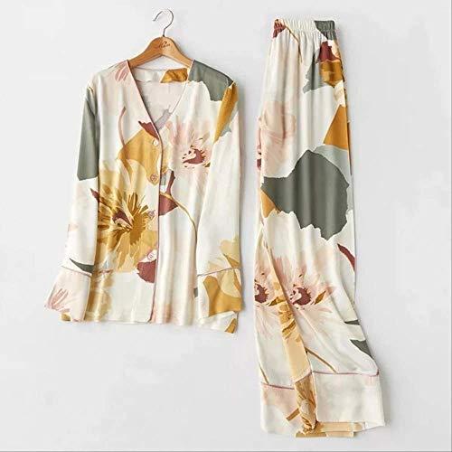 XFLOWR Femme Pijama Traje Estampado de Flores Manga Larga 2pcs Camisa + Pantalones Ropa de Dormir Casual Pijamas de Mujer Conjunto Algodón Ropa de Dormir Collar MV