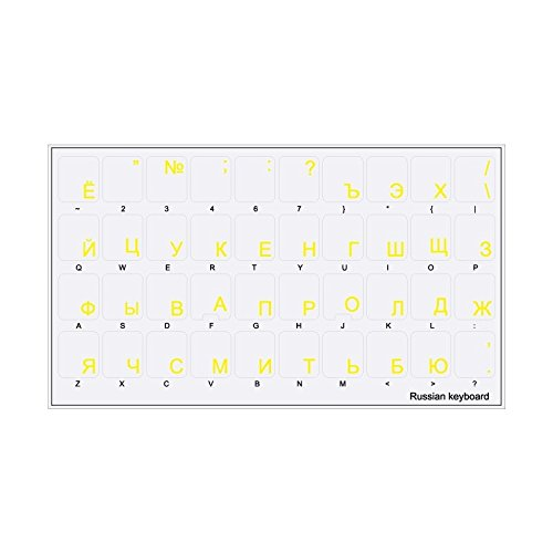 44 Toetsenbord Stickers Zelfklevende Russische Cyrillische lay-out Transparant - Geel Letters