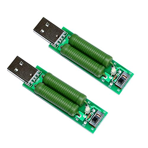 Jasnyfall USB-Lastwiderstand Widerstand gegen Alterungstests 2A 1A Stromspannungstester Grün