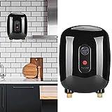 Wakects Mini calentador de agua eléctrico instantáneo de 220 V y 4000 W para casa, baño, cocina o lavado (negro)