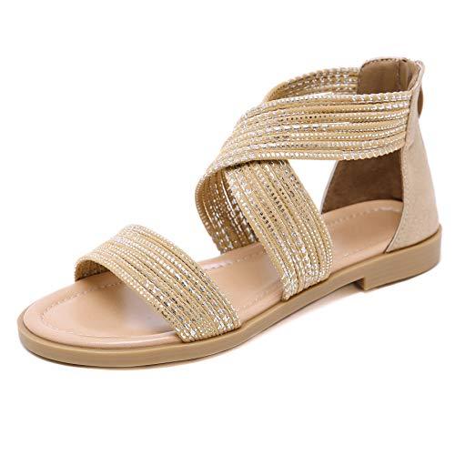 APTRO Damen Sandalen Sommerschuhe Römische Sandalen Flach Freizeit Mädchen Sandalen 9305 Beige 37