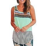 iHENGH Damen Top Bluse Bequem Lässig Mode T-Shirt Sommer Blusen Frauen O Neck T-Shirt Ärmellos Blumendruck Lässige Tops Bluse Weste Tank(Grün, L)