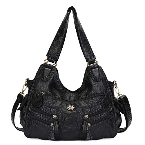 angel kiss Satchel Handbag for Women, Ultra Soft Washed Vegan Leather Crossbody Bag, Shoulder Bag, Tote Purse (KL6004-1BLACK)