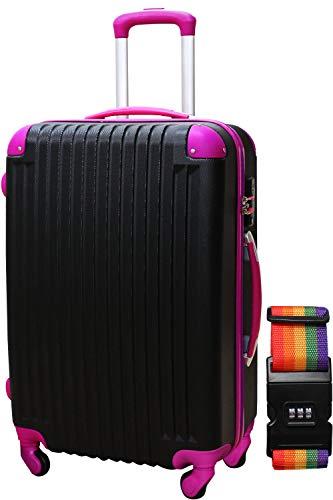 DABADA(ダバダ) スーツケース ベルト付 キャリーケース 機内持込 S M L ファスナー TSAロック (S, ブラック/ピンク)