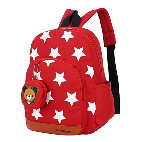 kindergartenrucksack, Kinderrucksack Star Drucken Mit Bär Brieftasche Kinder Rucksack für Rucksack Kindergarten Mädchen Babyrucksack Schultasche 2-6 Jahre Rot