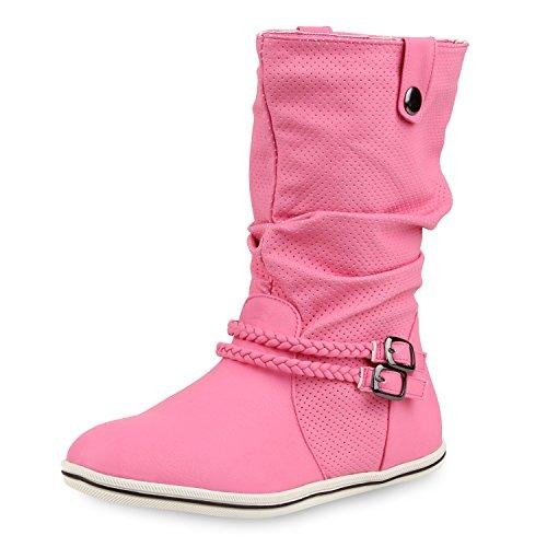 SCARPE VITA Bequeme Damen Stiefel Flache Schlupfstiefel Boots 160434 Pink Nieten 40