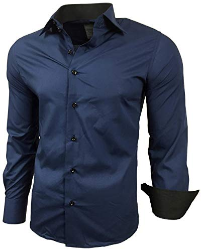 Baxboy Herren-Hemd Slim-Fit Bügelleicht Für Anzug, Business, Hochzeit, Freizeit - Langarm Hemden für Männer Langarmhemd R-44, Farbe:Marine, Größe:L