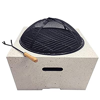 Fire Pit Fire Pit Table for Barbecue Grill, Square Barbecue fire Pit, Metal Brazier for Outdoor Garden Terrace from Lijack