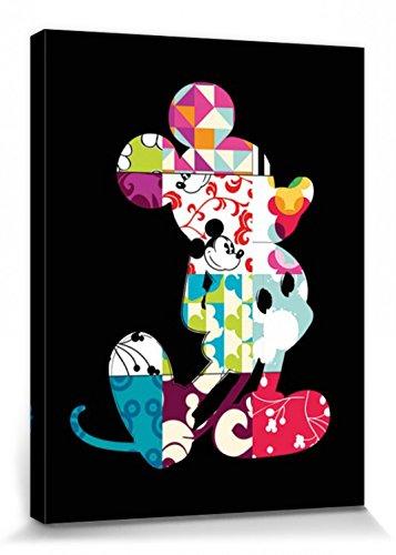 1art1 Mickey Mouse Poster Reproduction sur Toile, Tendue sur Châssis - Portrait Artistique Disney, Dessins De Courtepointe (80 x 60 cm)