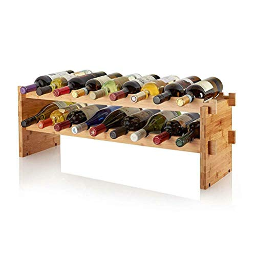 Aiglen Estante para vinos, estantes para Vino de Madera de Doble Capa, Soportes para gabinetes para Botellas, Organizador de estantes, Almacenamiento, Vitrina Retro, Decorar Bodega