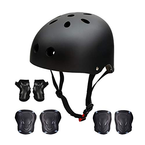 "Antart Skateboard Protection Pads Gear Set, Adults Bike Protective Helmet, Knee Pads, Elbow Pads for Scooter, BMX, Cycling, Rollerblading, M (20.5""-22.4"" Head) / Black"