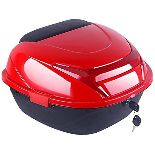 Baúl de viaje para motocicleta, baúl de viaje para maletero, baúl de almacenamiento de equipaje para casco, 30 l con cerradura, para ciclomotor / scooter con respaldo blando Hardware de montaje univ