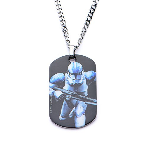 Colgante de acero inoxidable Star Wars Graphic Stormtrooper para hombre con cadena