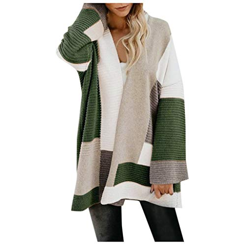 HULKY Tricot Chic Cardigan Long Gilet Femme Hiver Tricot Veste Manches Longues Pull Gilet Chaud Casual Capuche Manteau Sweater Hiver Chandail Outwear Femmes Color Block Pulls Rayés Cardigan