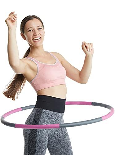 Klington Hula-Hoop Reifen - Fitnessreifen für schnelle Gewichtsreduktion - Hochwertiger Hula Hoop Reifen 1,2 kg - Hulahoop mit 1m Durchmesser - Hula Reifen inkl. Tasche & Maßband (Pink)