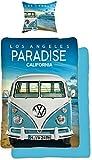 VW Volkswagen Bulli Paradise 135 x 200 cm + 80 x 80 cm VW-Bus T1 100 % coton renforcé de qualité Camper Retro Los Angels California Parure de lit réversible avec fermeture Éclair 075