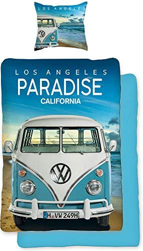 VW Volkswagen Bulli Bettwäsche Paradise 135 cm x 200 cm + 80 cm x 80 cm VW-Bus T1 100% Baumwolle in Renforcé-Linon-Qualität Camper Retro Los Angels California Wendebettwäsche Reißverschluss 075