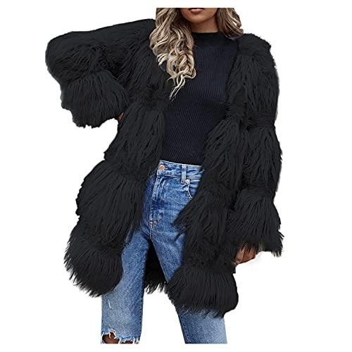 BIBOKAOKE Abrigo de mujer con cuello de traje, de pelo sintético, largo, con capucha, abrigo de peluche, cálido, invierno, cómodo, informal, chaqueta de pelo sintético