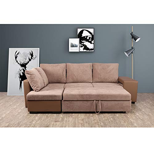 Homy Casa Inc Convertible Sofa Set Couch Bed Sleeper Chaise Lounge Furniture Sofabed, Coffee