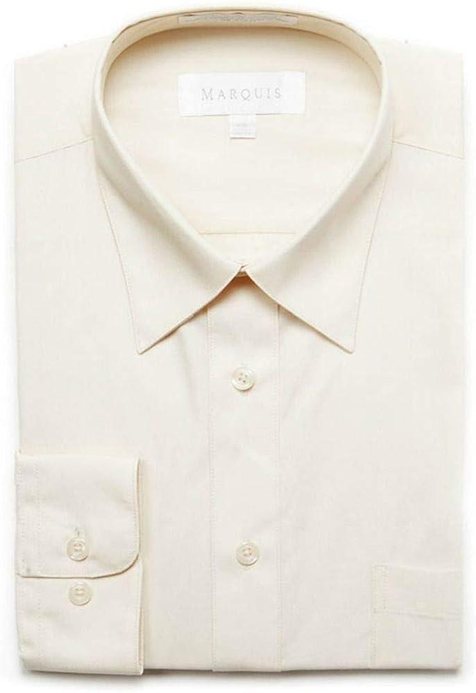 Marquis Mens Classic Fit Off White Cotton Blend Dress Shirt