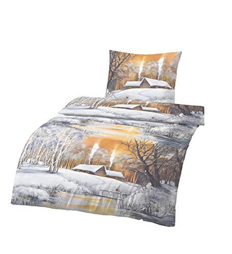 Träumschön Biber Bettwäsche 135x200 2tlg | Kuschelige Bettwäsche Schneelandschaft | Bettwäsche aus 100% Baumwolle | Ideal für den Winter geeignet