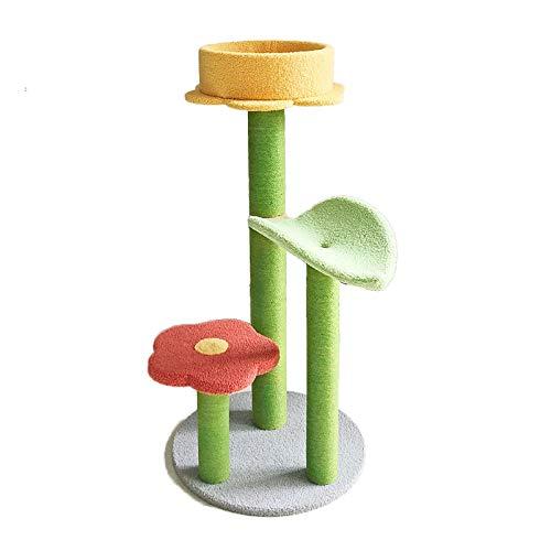 TXOZ-Q Katzenbaum Turm Kletterbett mit Kratzer Spielzeug Lustige Katze Spielzeug Zeug Ball Jump Übung Aktivität Schlaf Nordic Stil Blume Hell gefärbt, 49 * 49 * 100 cm (Color : Red)