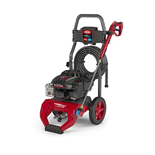 Briggs & Stratton 3100 MAX PSI at 2.1 GPM Gas Pressure Washer with 30-Foot Hose, 7-IN-1 Nozzle, PowerFlow + and Idle Down Technology